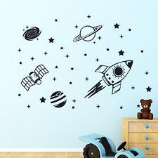 Nave Cohete Espacio Exterior Decoración de Pared Pegatina De Vinilo Calcomanía Mural Habitación Niños Niños