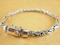 "Handmade 925 Sterling Silver Byzantine Bali Borobudur Chain Bracelet 7.75"" 26g"