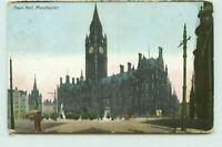 Town Hall Manchester Colour Vintage Old Postcard Posted 1907 CT