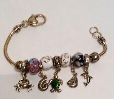 Charm Bracelet Nautical Theme Beaded Gold Toned Bracelet Add A Charm Bracelet