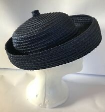 Vintage Women's BRETON HAT Navy Blue Woven Straw School Girl Small Medium 60s?
