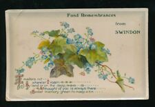 Wilts Wiltshire SWINDON Fond Remembrances used 1914 PPC corner bend