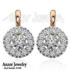 Russian Style Diamond Jewelry 14k Rose & White Gold Diamond Earrings Malinka.