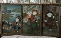 Antique early 1900s CHINESE REVERSE GLASS PAINTINGS set of 3! Children koi kite