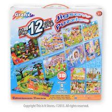 Grafix 12 Pack Mega Jigsaw Puzzles. Includes 4 x 3D Puzzles. Children's Games.