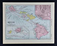 1911 McNally Map - Hawaii Islands - Oahu Honolulu Kauai Maui Lanai Molokai Kona