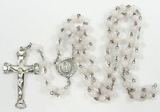 Sterling Silver Rosary Necklace Crucifix Miraculous Medal Rose Quartz Beads