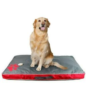 Sweet Dreams  Red and Grey Waterproof Pet Dog Bed Cushion - Large