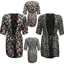 Women's Plus Floral Print Chiffon Open Front Tie Cardigan Size 14-26