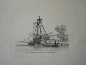 BELLE GRAVURE PAYSAGE MARINE BATEAU VOILIER VAISSEAU BRICK NAVIRE MARCHAND 1810
