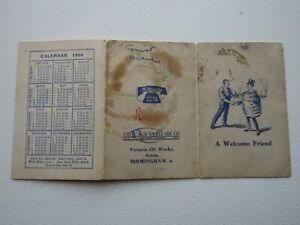 The W. Blackwell Oil Co 1954 Victoria Oil Works Calendar Birmingham Card (e31)