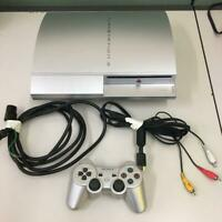 Playstation 3 PS3 Sony Satin Silver Console CECH-2000B Video Game w/controller