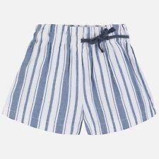 6256 Mayoral Mädchen kurze Hose Shorts Leinen gestreift blau weiß Gr. 140