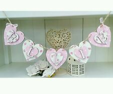 Shabby Chic personalised name letter wooden heart bunting gift. Price per heart.