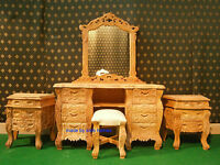 Solid Mahogany wood Raw unpainted French Rococo mahogany BEDROOM SET not oak bed