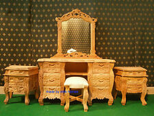 Solid Mahogany  Raw French Rococo mahogany BEDROOM SET french dressing table