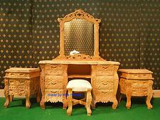 Solid mahogany wood raw non verniciata francese Rococò MOGANO Camera Da Letto Set non letto ROVERE