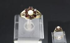 Goldring Gr. 18/57 333 Gold Damenring Geldbgoldring Ring mit Perle und Granat