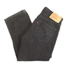 Levis 501 Button Fly Black Denim Jeans Tag 30 x 30 Actual 33 x 24