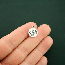12 Om Charms Antique Silver Tone Round Tag - SC6388