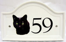 BLACK Cat House PORTA NUMERO PLACCA in Ceramica Gatto Nero Casa Segno QUALSIASI NUMERO