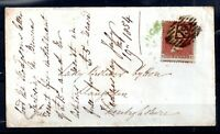 GB QV 1854 1d red cover to Wales & green Receipt Cancel WS18523