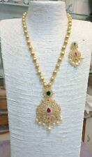 Indian Bollywood Fashion Pearl Diamond Multi Color Necklace Earings Jewelry Set
