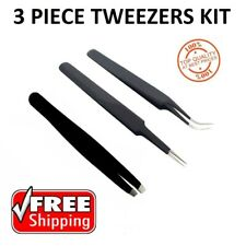 3PCS TWEEZERS SET,STAINLESS STEEL SLANTED TIP PULLER/PLUCKER CURVED AND STRAIGHT