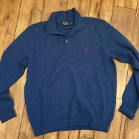 POLO RALPH LAUREN Men's Large Blue Lambs Wool sweater - DEFECT noted
