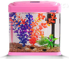 New listing 15L Glass Mini Enclosed Small Ecological System Gifts Aquarium/Fish Tank Pink &$