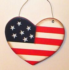 Patriotic Americana Heart shaped Flag Wood Sign Country Home Decor