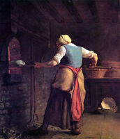 Large Oil painting Millet Woman baking bread in kitchen canvas 36""