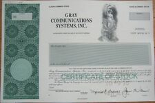 SPECIMEN Stock Certificate: Gray Communications Systems