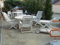 Reguitti Italy set completo tavolo 4 sdraio legno firmati