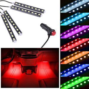 Red LED Car Interior Accessories Floor Decora Atmosphere Strip Lamp Lights 4x
