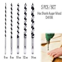 5pc/Set Wood Auger Drill Bit 6-14mm Hex Shank Woodwork Hole Saw Cutter Tools
