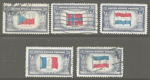 1943-1944 Overrun Countries Issue Sc 910, 911, 913, 915, 917 (partial set) ULH