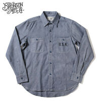 Bronson WW2 USN Chambray Work Shirts Men's Vintage Selvage Navy Fatigue Utility