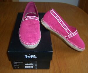 Coach Corrie Mesh Pink Hyacinth Espadrille Flat Shoes Size 6B New in Box $178