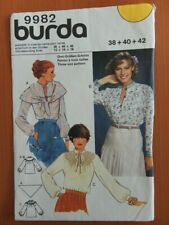 Burda 9982 Sewing Pattern Ladies pullover blouse top with yoke and scarf size 12