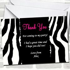 Zebra Print Pink Text Party Thank You Cards