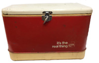 Coca Cola Thermos Cooler Coke Metal & Plastic Vintage Red White 22x14 Hinged Lid