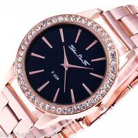 1 Rosegold Damenuhr Armbanduhr Metallband Schwarz kus 23cm Geschenk Strass