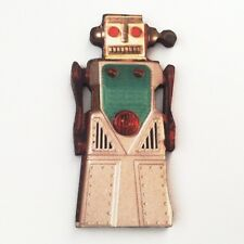 Robot wood brooch Retro space pin Boy gift Vintage toy Sci Fi wooden jewellery