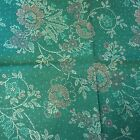 Tapestry Fabric Green With Embroidery Cruel Flower Pattern Reverse Side Pink New