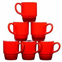 Bruntmor Ceramic Stacking Coffee Mugs Set of 6 Tea Cups  Gradient Red 18 Ounce