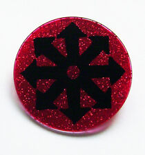 HANDPAINTED CHAOS SYMBOL RED GLITTER GLASS BROOCH PIN BADGE BUTTON