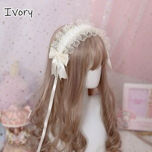 Girl Lolita Lace Headband Frill Bowknot Headwear Gothic Princess Hair Accessory