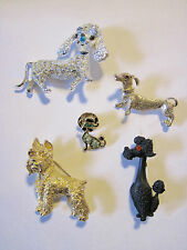 Lot of 5 Vintage Dog Brooch/Pin Set Signed Rhinestones Scotty Dachshund Poodle
