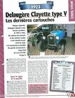 Delaugère Clayette V Torpedo 4 Cyl. 1923 France Car Auto Retro FICHE FRANCE